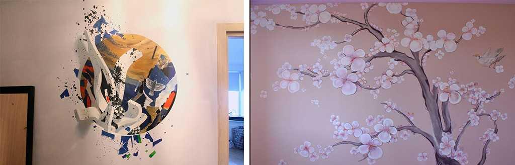 Рисунки на стенах в квартире акрилом