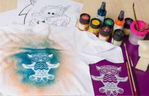 Трафаретная роспись на футболку