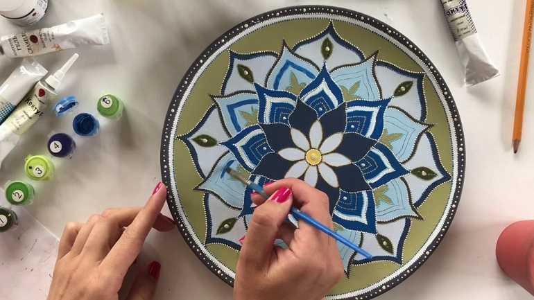 Роспись тарелок акрилом