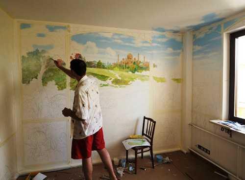 Рисование акриловыми красками по стенам