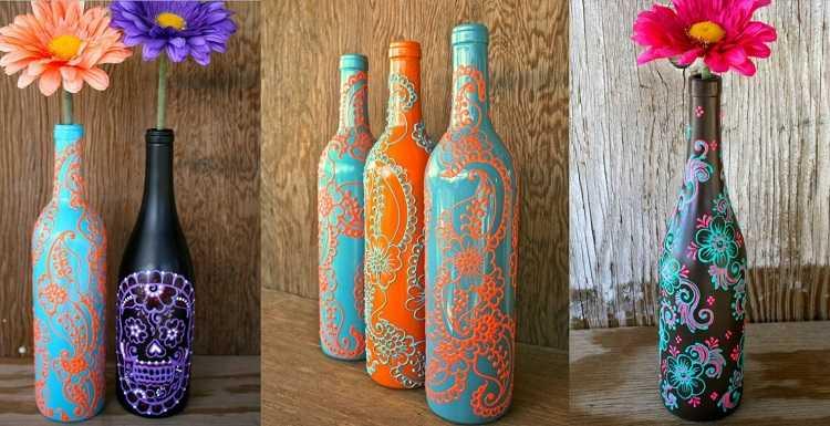 Декор бутылок акрилом