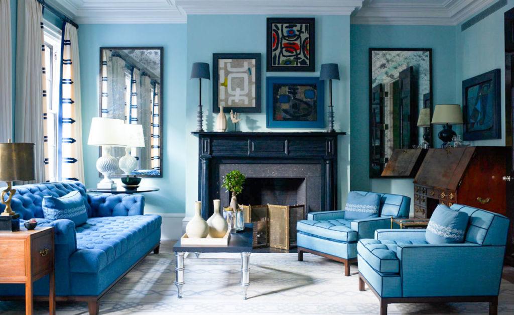 Использование голубого цвета в гостиной